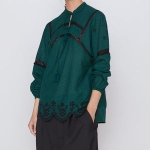 NWT Zara Embroidered Green Blouse